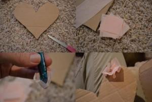 Из плотного картона вырезаем два сердца и склеиваем их между собой, чтобы изделие было плотным и хорошо держало форму.