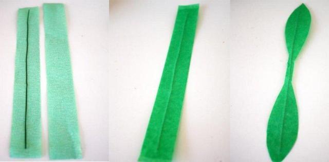 листики делаем из зеленой бумаги