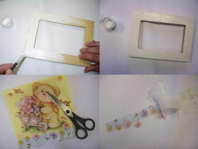 Этапы работ по украшению рамки для фото: