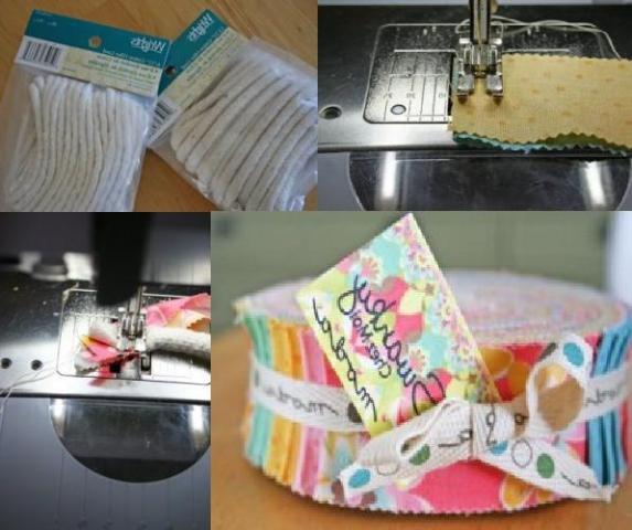 Берем обычный бельевой шнур и декорируем его тканью