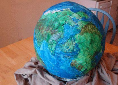 Поделка глобус на урок географии, папье маше.