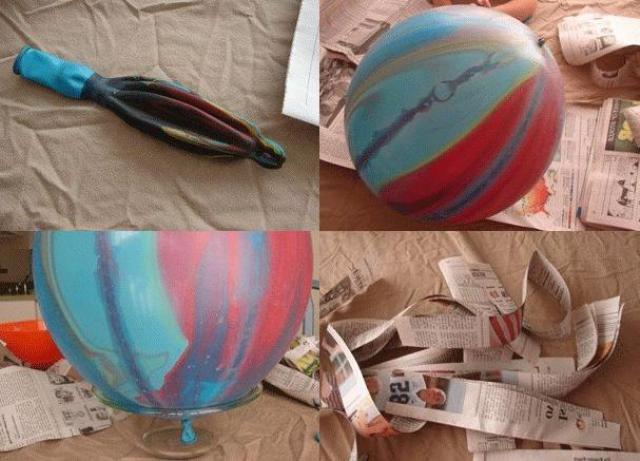 Этапы работ по изготовлению глобуса папье - маше: