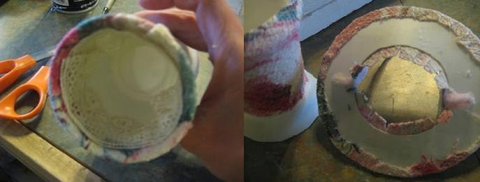 Внутренние края можно украсить кружевом. Поля тоже обворачиваются тканью.