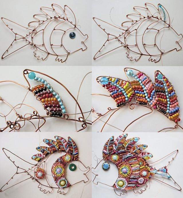 Ход работы по изготовлению поделки рыбы из металлической проволоки
