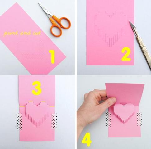 Как сделать 4 д открытку из бумаги