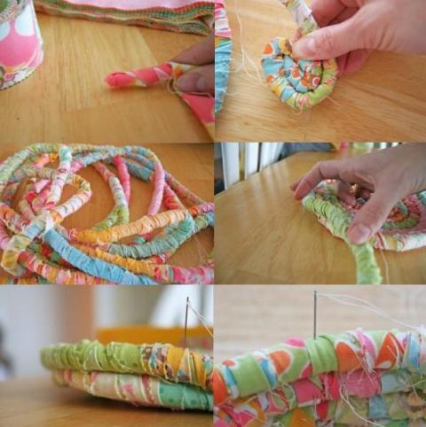 сшиваем декорированный шнур по спирали