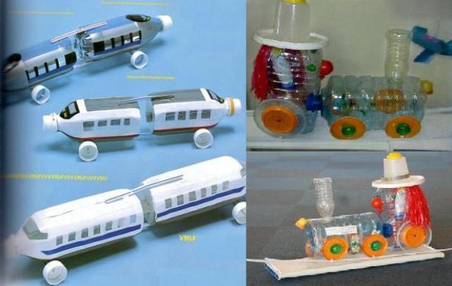 Делаем поезд из пластиковых бутылок поэтапно: