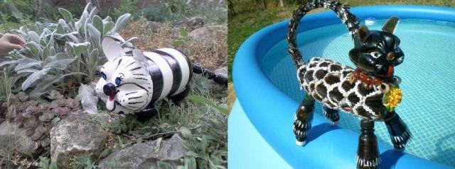 Делаем поделку для сада и дачи - кот из пластиковых бутылок
