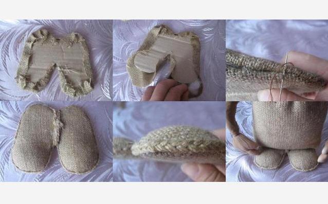 Детали сшиваются и готовые башмаки присоединяются к туловищу.