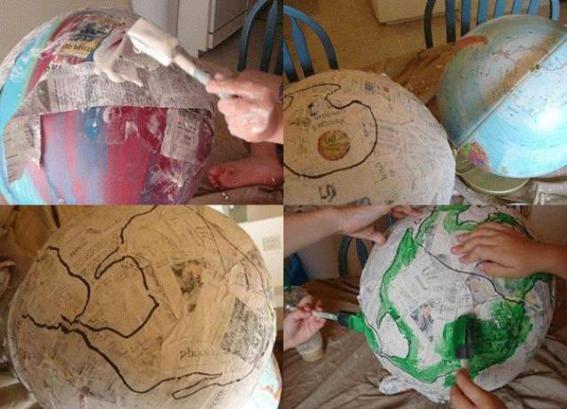 Поделка глобус на урок географии техникой папье-маше