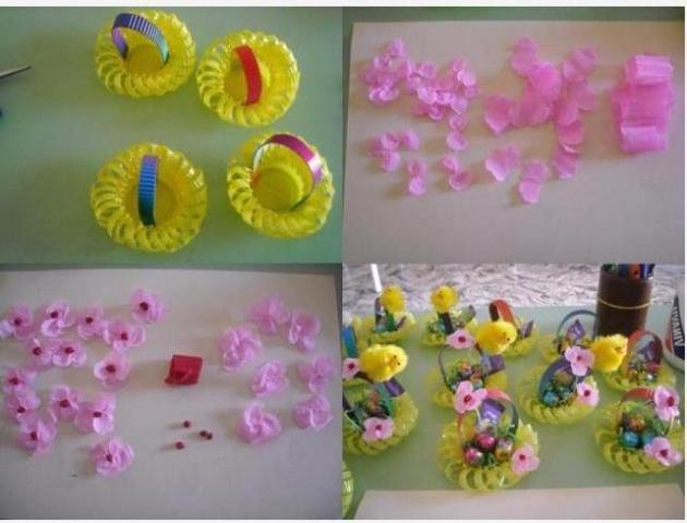 Из гофрированной бумаги другого цвета смотайте небольшие шарики – сердцевины для цветов и приклейте их.