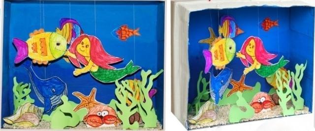 Делаем поделку подводный мир или домашний аквариум своими руками.