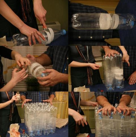 Пуфик из пластиковых бутылок с фото