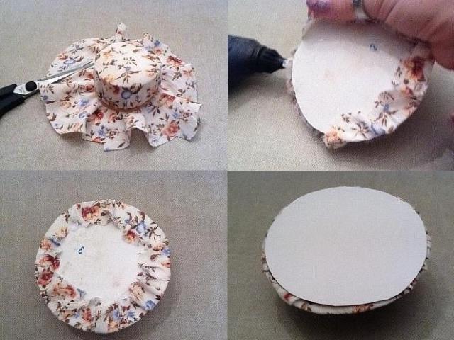 Чтобы придать завершенный вид шляпе, приклеиваем второе основание, скрывая края обрезанной ткани.