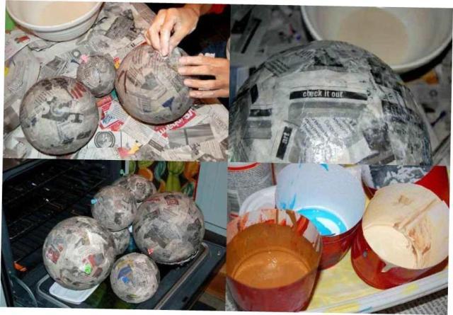обклеиваем шарики газетами и готовим к пкраске