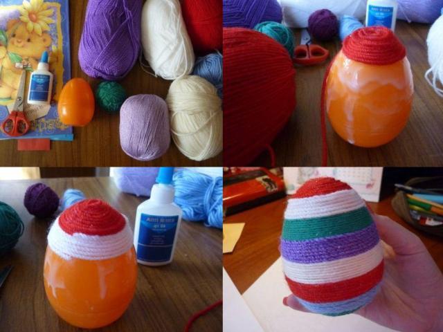 Берём нить любого цвета. Кончик придерживаем пальцем и накручиваем нить. Не обязательно делать всё яйцо одним цветом.