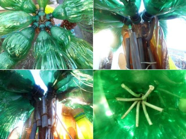 Закрепите листья на пальме, загибая при этом кабель через втулки