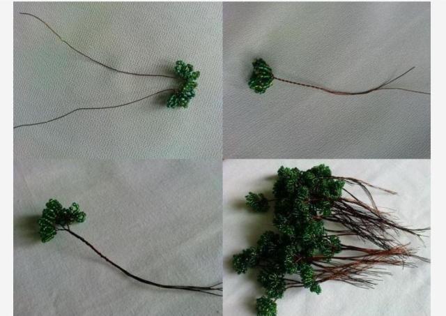 Смешайте зелёный бисер разных цветов, чтобы листва дерева получилась с красивыми переливами и оттенками.