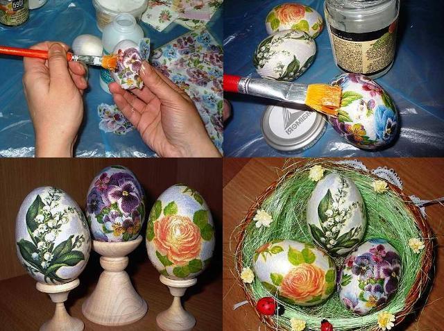 Декупаж яиц салфетками