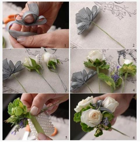 Количество и вид цветов можно подобрать самостоятельно, главное, чтобы композиция получилась лёгкой и красивой.
