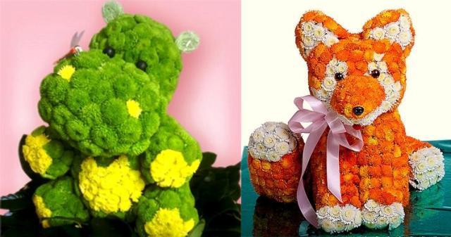Игрушки из живых цветов фото