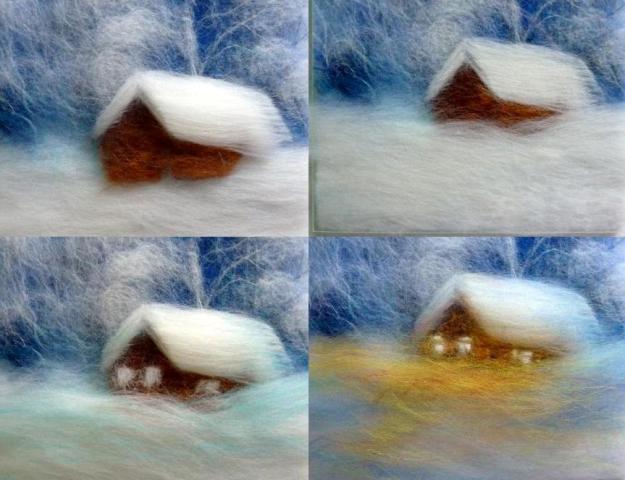 Сделайте окошки и от них оттенок света, падающего на снег. Яркие пряди потом можно будет приглушить белыми волокнами.