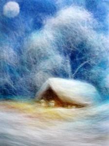 Мастер класс картины из шерсти на тему зимний вечер