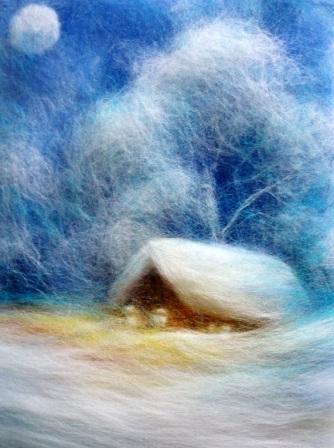 поделки на тему природы Мастер класс картины из шерсти на тему зимний вечер