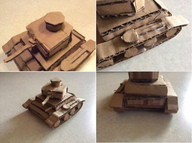 нужно сделать башню для танка. Для этого подготовить из картона следующие части: