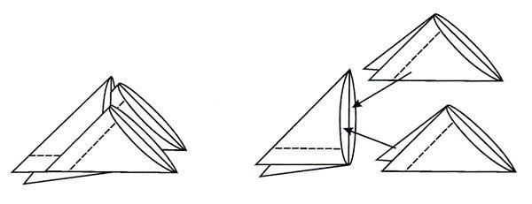 После этого разогните и сложите эти уголки в треугольники по намеченным линиям.