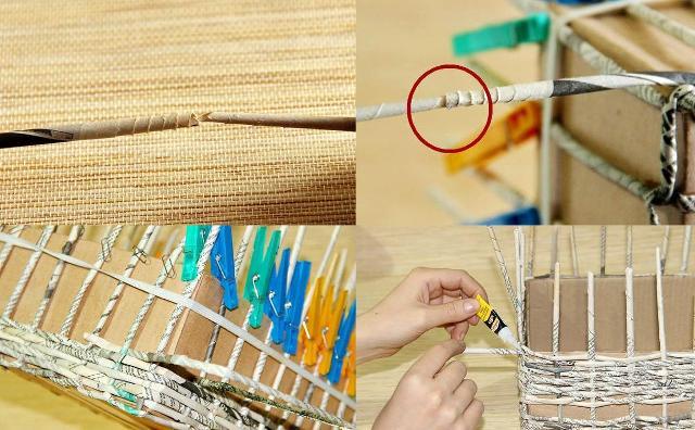 Приклейте добавочную трубочку, чтобы плести стенки. Когда она будет заканчиваться, её можно нарастить (вставьте в конец старой трубочки новую и зафиксируйте клеем).
