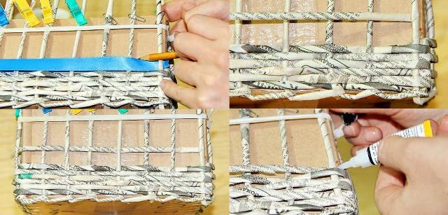 Когда плетение подошло к краю коробки, зафиксируйте рабочую трубочку и пинцетом спрячьте её кончик.