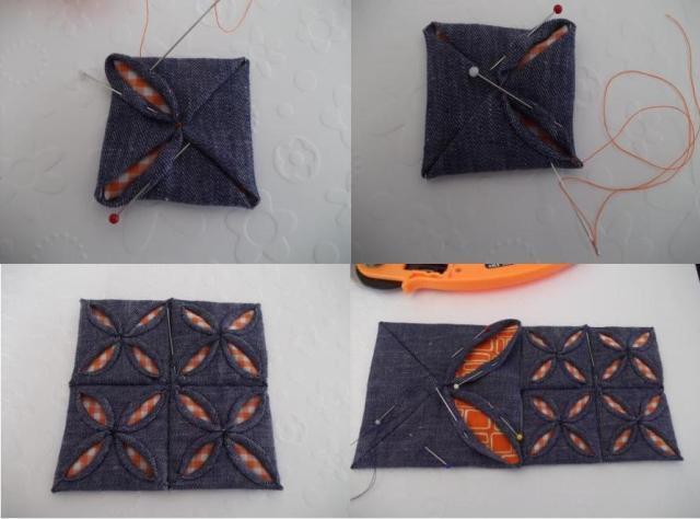 Когда будет готовы четыре таких квадрата, потом просто сшиваем их между собой