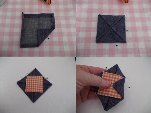 Теперь загибаем припуски на швы на основной ткани с каждой стороны квадрата вовнутрь и заглаживаем их утюгом