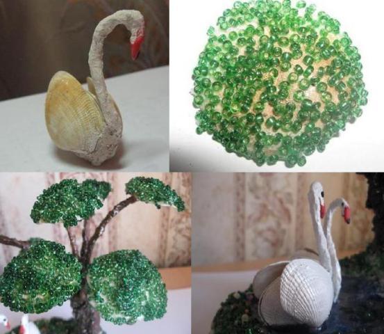 Лебедя можно покрасить лаком для ногтей белого цвета или акриловыми красками, которые потом покройте бесцветным лаком