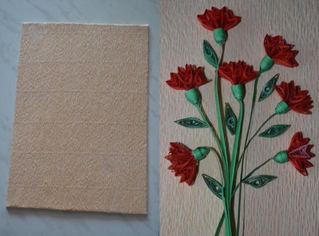 Приступите к оформлению основы для панно. Из плотного картона нужно вырезать подходящего размера прямоугольник.
