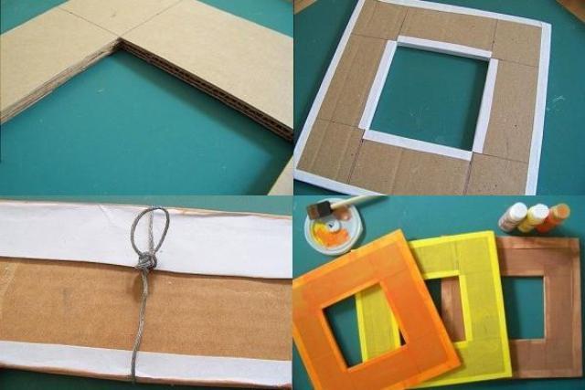 Обклеиваем рамку простой белой бумагой с той стороны, которую будем в дальнейшей декорировать.