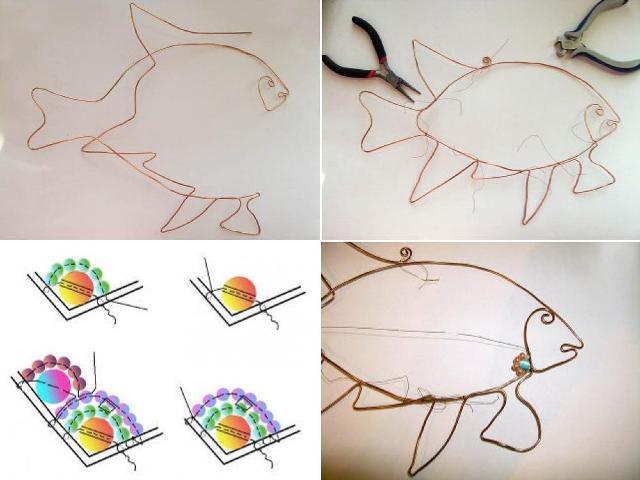 Мастер-класс украшение из бисера на стену: рыбка