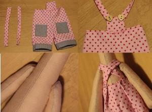 Чтобы получился комбинезон, нужно пришить сверху квадратик ткани и лямки