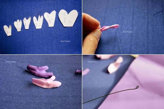 На листе бумаги нарисуйте шаблоны лепестков, а затем перенесите их на фоамирана. Должно получиться 6 видов лепестков