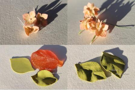 При помощи проволоки соедините цветы и листочки, обмотайте проволоку тейп-лентой.