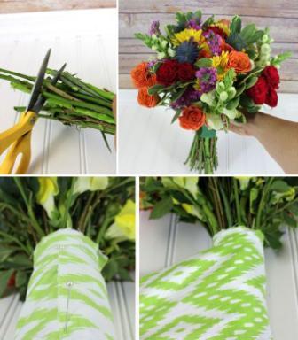 Добавляйте по кругу и листья зелени. Лишнюю длину стебля обрежьте ножом.