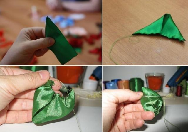 Чтобы сделать листья, возьмите примерно 10 см зелёной ленты и обожгите её концы, чтобы она не распадалась