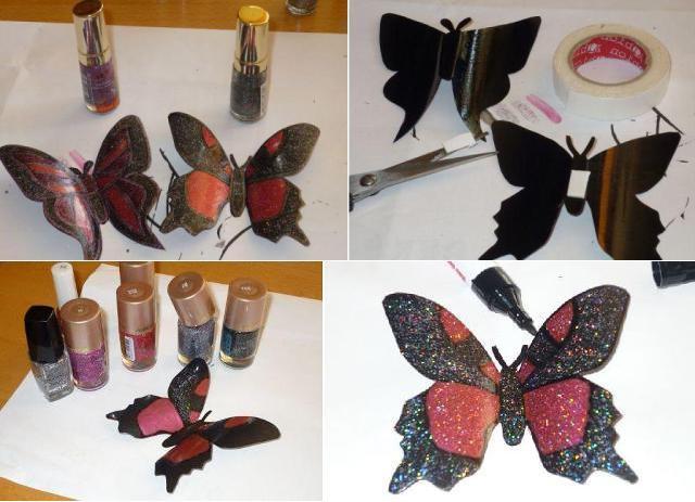 Обратную сторону бабочки нужно закрасить маркером и покрыть бесцветным лаком