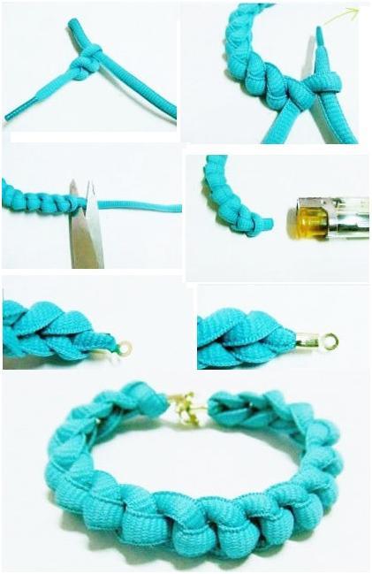 Делаем стильные браслетики их шнурков