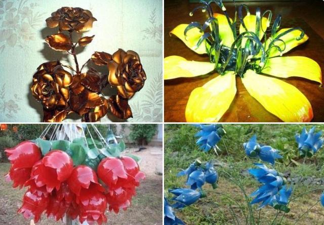 цветы из пластиковых бутылок фото
