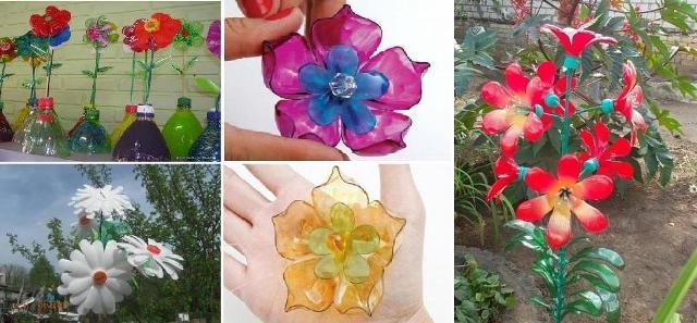 Цветы из пластмассовых бутылок своими руками для сада