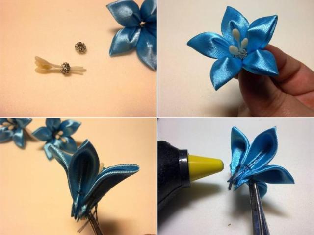 цветы из атласных узких лент своими руками пошаговая инструкция видео - фото 6