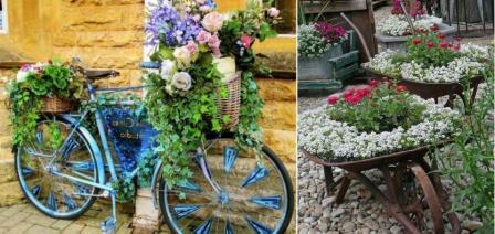 использование велосипеда и тачек для организации цветника