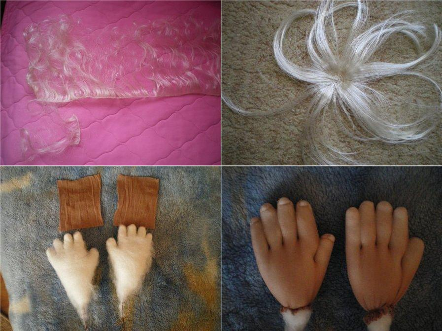 делаем кукле парик и ручки